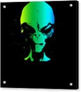 Alien Grey Head Blue Green Acrylic Print