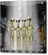 Alien Vacation - Beamed Up From Time Square Acrylic Print