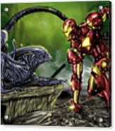 Alien Vs Iron Man Acrylic Print by Pete Tapang