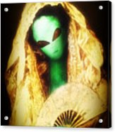 Alien Wearing Lace Mantilla Acrylic Print
