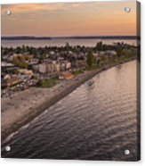Alki Point Aerial Sunset Acrylic Print