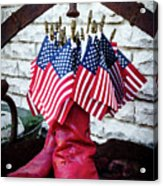 All American Flag And Red Boots - Painterly Acrylic Print