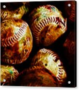 All American Pastime - A Pile Of Fastballs - Electric Art Acrylic Print by Wingsdomain Art and Photography