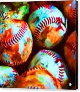 All American Pastime - Pile Of Baseballs - Painterly Acrylic Print