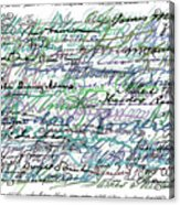 All The Presidents Signatures Teal Blue Acrylic Print
