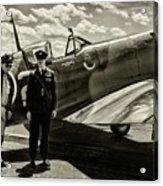 Allied Pilots Taking Stock Acrylic Print