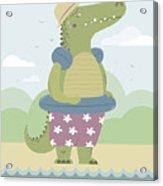 Alligator On The Beach Acrylic Print