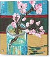 Almond Blossoms In A Glass Acrylic Print