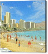 Aloha From Hawaii - Waikiki Beach Honolulu Acrylic Print