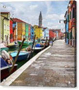Along The Canal In Burano Island Acrylic Print