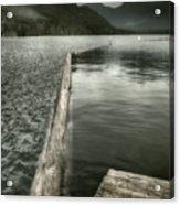 Along The Washington Coast - Dock, Breakwater, And Mountains Acrylic Print