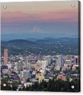 Alpenglow Over Portland Oregon Cityscape Acrylic Print