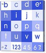 Alphabet Blue Acrylic Print by Michael Tompsett