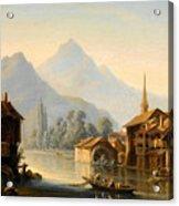 Alpine Lake Scenery With City View Acrylic Print