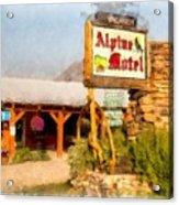 Alpine Motel Vintage Roadside Oasis Yellowstone Acrylic Print