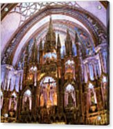 Alter Inside Basilica Of Notre Dame, Montreal, Quebec, Canada. Acrylic Print