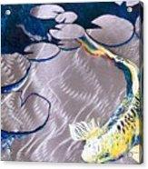 Aluminum Print, Koi Fish Print On Metal. Fish Art - Yellow - Blue - Green 3d Painting Of Koi Fish, A Acrylic Print