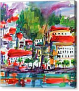 Amalfi Coast Italy Expressive Watercolor Acrylic Print