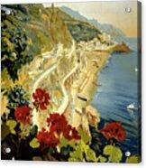 Amalfi Italy Italia Vintage Poster Restored Acrylic Print