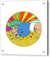 Amateur Boxer Hit By Glove Punch Oval Drawing Acrylic Print