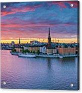 Dramatic Sunset Over Stockholm Acrylic Print