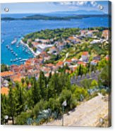 Amazing Historic Town Of Hvar Aerial View Acrylic Print