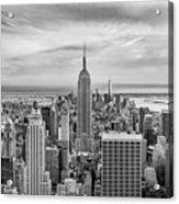 Amazing Manhattan Bw Acrylic Print