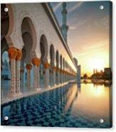 Amazing Sunset View At Mosque, Abu Dhabi, United Arab Emirates Acrylic Print