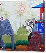 Amazing Wall Art Painting Or Elephants Acrylic Print