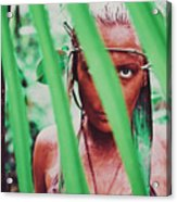 Amazonian Goddess Portrait Of A Wild Looking, Camouflaged Warrior Girl Holding Bow And Arrow Acrylic Print