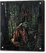 Amazonian Indians Worshiping The Sun God Acrylic Print