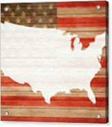 America Rustic Map On Wood Acrylic Print