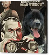 American Akita Art Canvas Print - Rear Window Movie Poster Acrylic Print