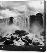 American And Bridal Veil Falls With Luna Island And Deposited Talus Niagara Falls New York State Usa Acrylic Print by Joe Fox