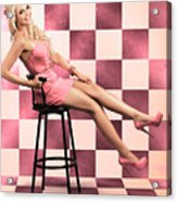 American Culture Pin Up Girl Inside 60s Retro Diner Acrylic Print