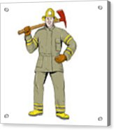 American Firefighter Fire Axe Drawing Acrylic Print