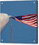 American Flag At The End Of Tall Post With Blue Skies Acrylic Print