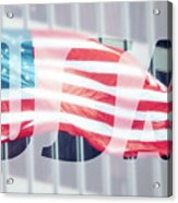 American Flag In Front Of Business Building  Acrylic Print