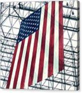 American Flag In Kennedy Library Atrium - 1982 Acrylic Print
