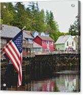American Flag On Creek Street Ketchikan Alaska Acrylic Print