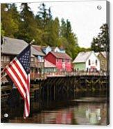 American Flag On Creek Street Ketchikan Alaska Painting Acrylic Print