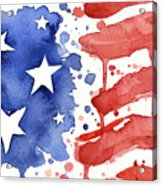 American Flag Watercolor Painting Acrylic Print