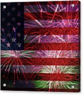 American Flag With Fireworks Display Acrylic Print