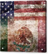 American Mexican Tattered Flag  Acrylic Print