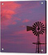 American Old Farm Water Pumping Windmill With A Sunset  Acrylic Print