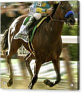American Pharoah And Victory Espinoza Win The 2015 Belmont Stakes Acrylic Print