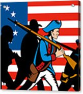 American Revolutionary Soldier Marching Acrylic Print