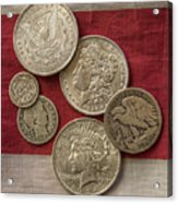 American Silver Coins Acrylic Print by Randy Steele