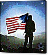American Soldier With Flag Acrylic Print