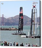 America's Cup Racing Sailboats In The San Francisco Bay - 5d18253 Acrylic Print by Wingsdomain Art and Photography